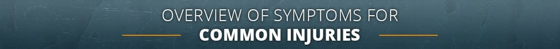 Overview of Symptoms for Common Injuries